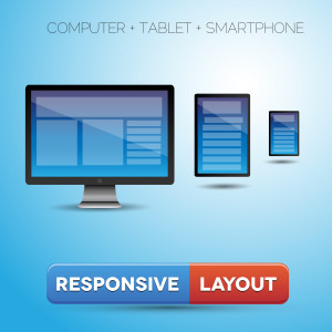 responsive web design displayed on PC, Tablet, Cell Phone.